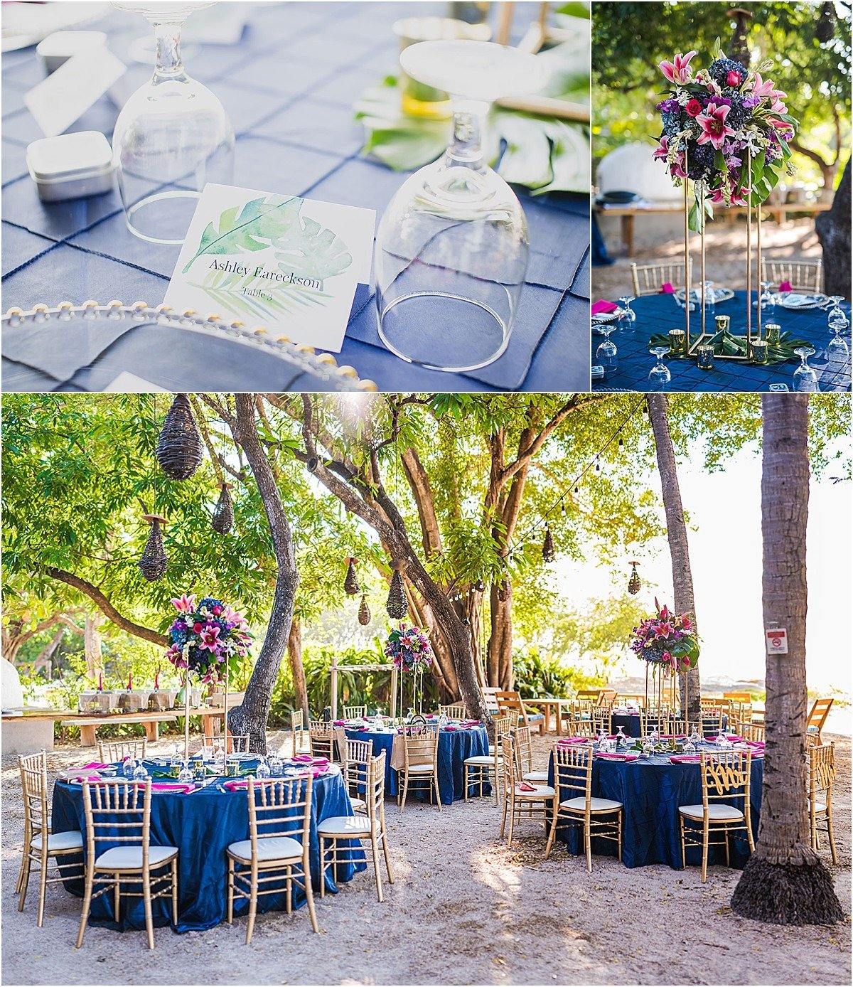 blue tropical wedding decor