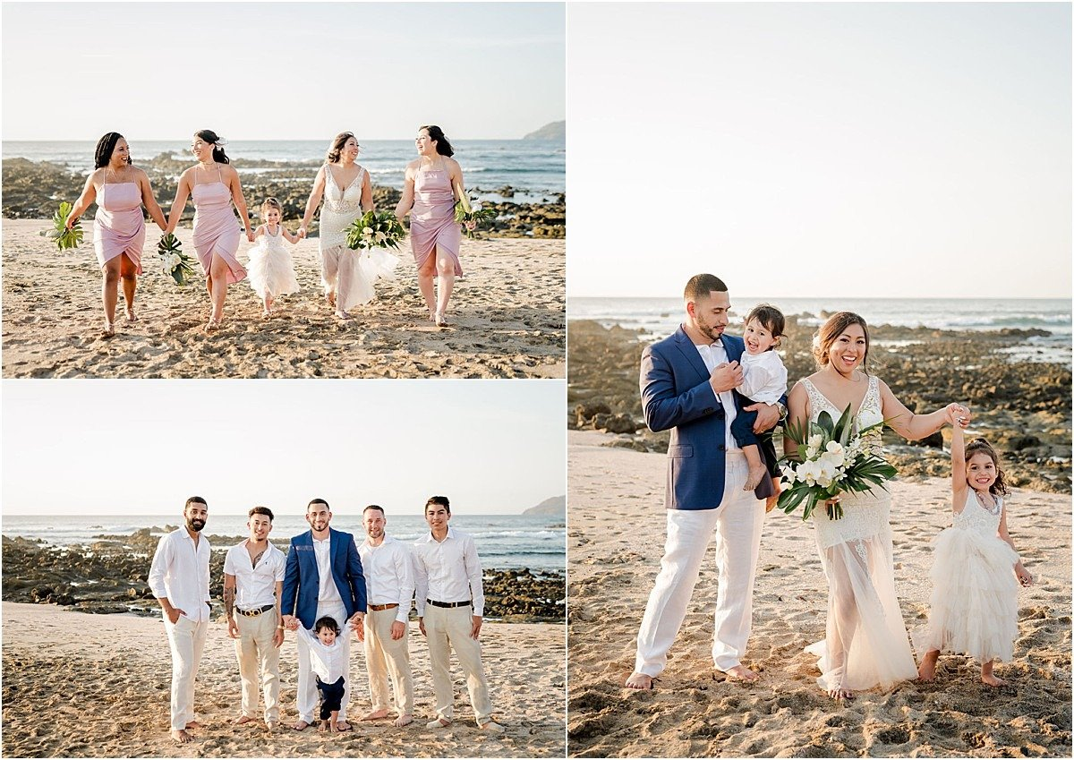 bride and her girls and groom with the guys