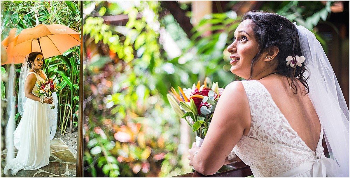 bride in the rain in Costa Rica