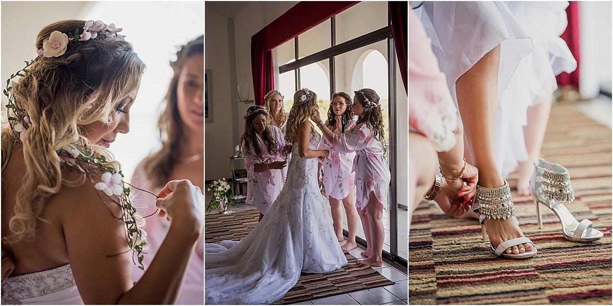 bride morning of the wedding in La Masion