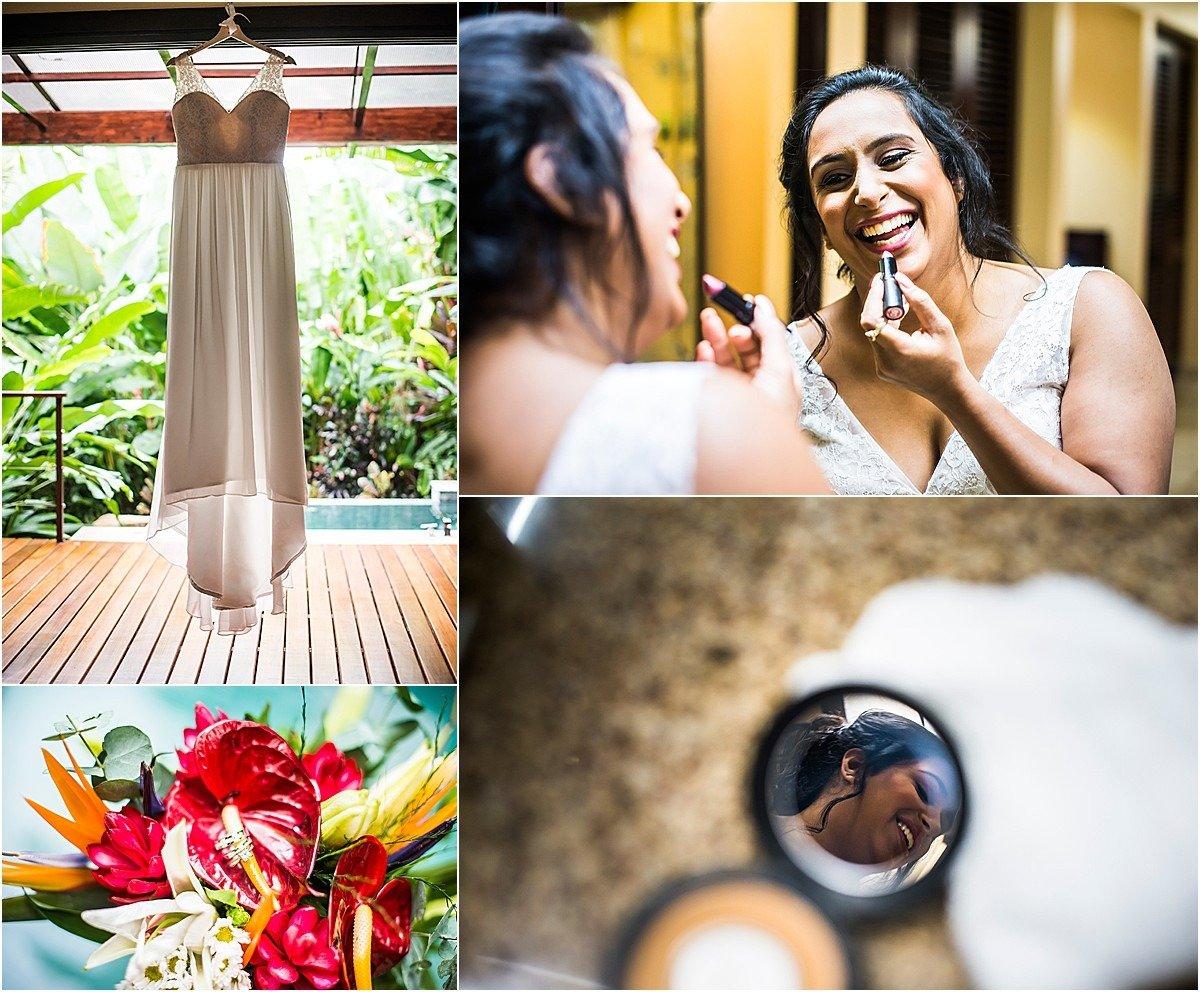 bride putting on her elopement make up
