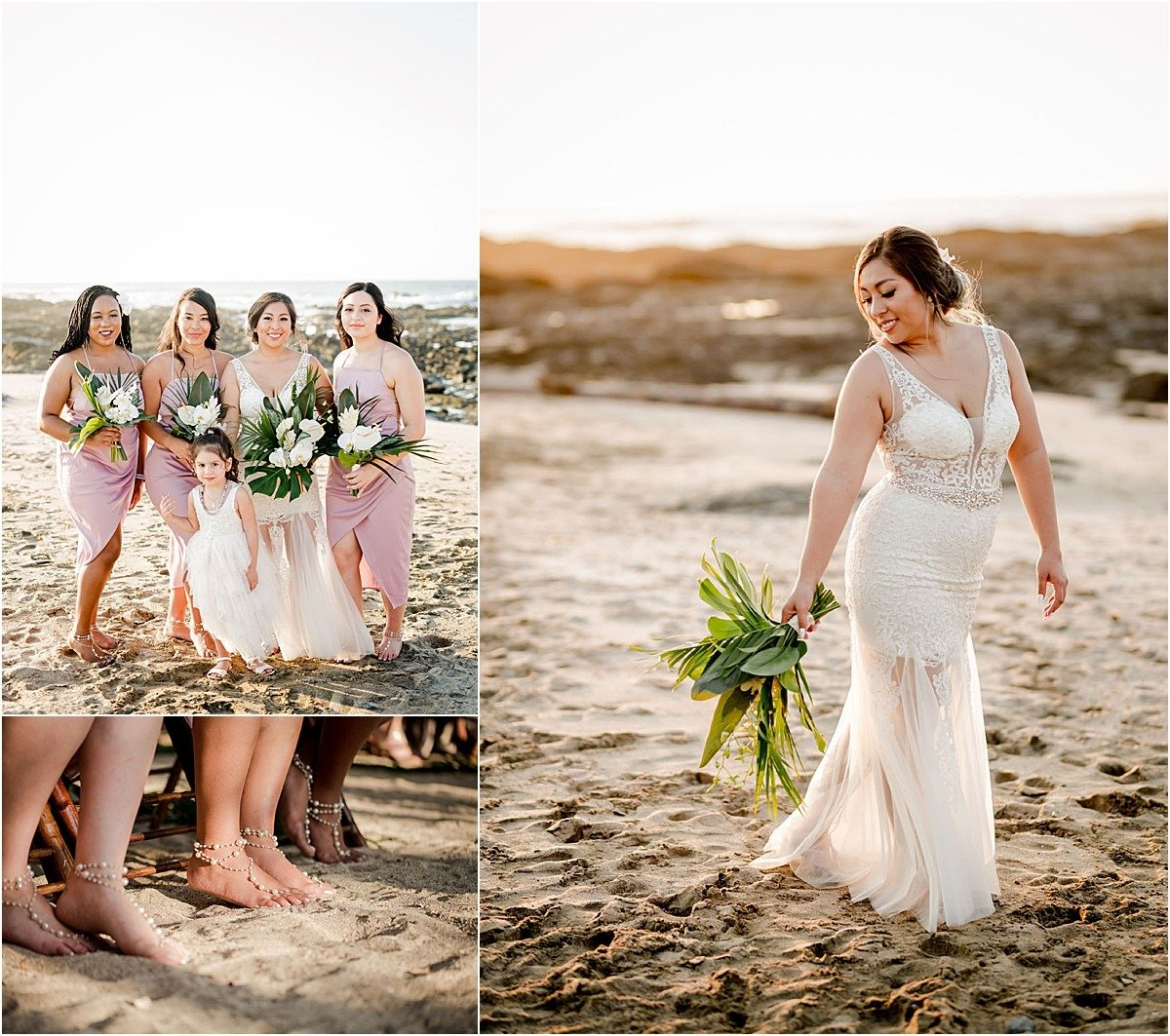bridesmaids without shoes and wear bracelets instead