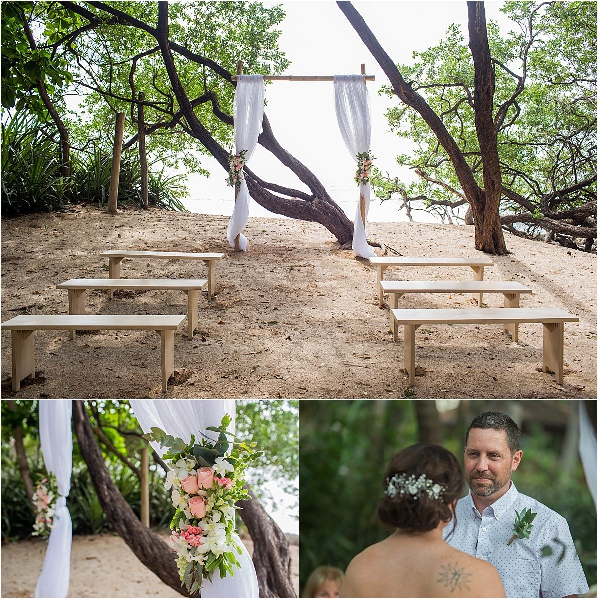 ceremony decor flowing fabric over a simple wood arch