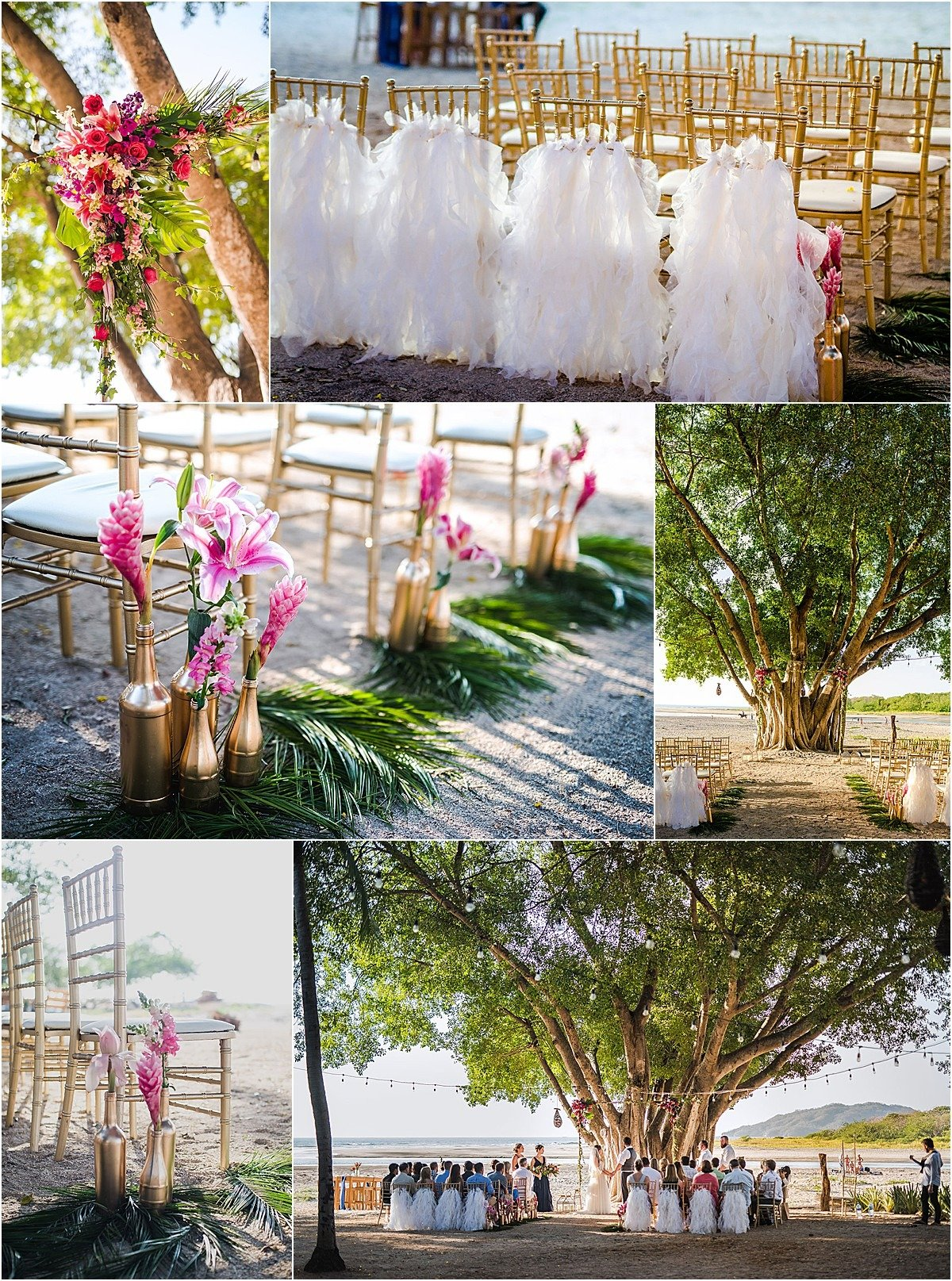 cermony decor white ruffles on chair backs and tropical lined aisle