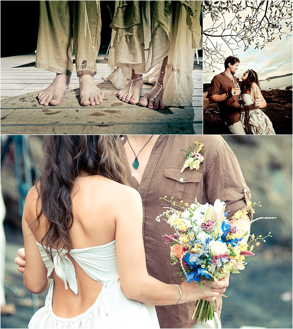 close up on the brides boho gown and wild flower bouquet