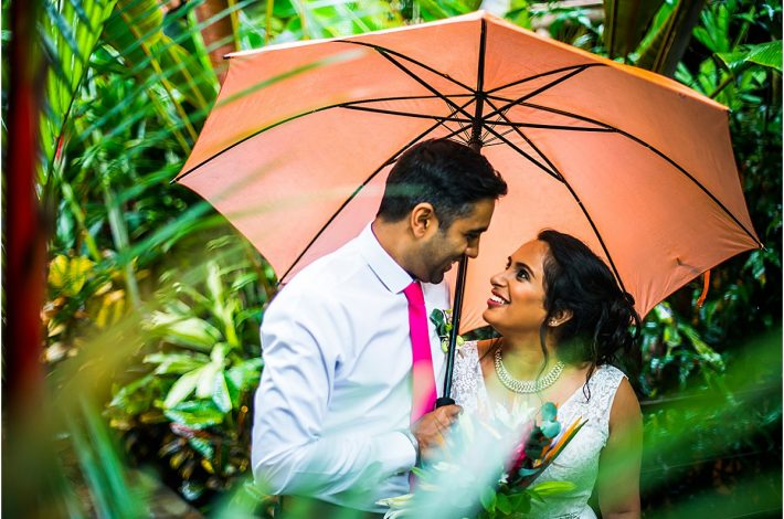 Arenal Nayara Gardens Elopement couple happily married in the rain in Costa Rica