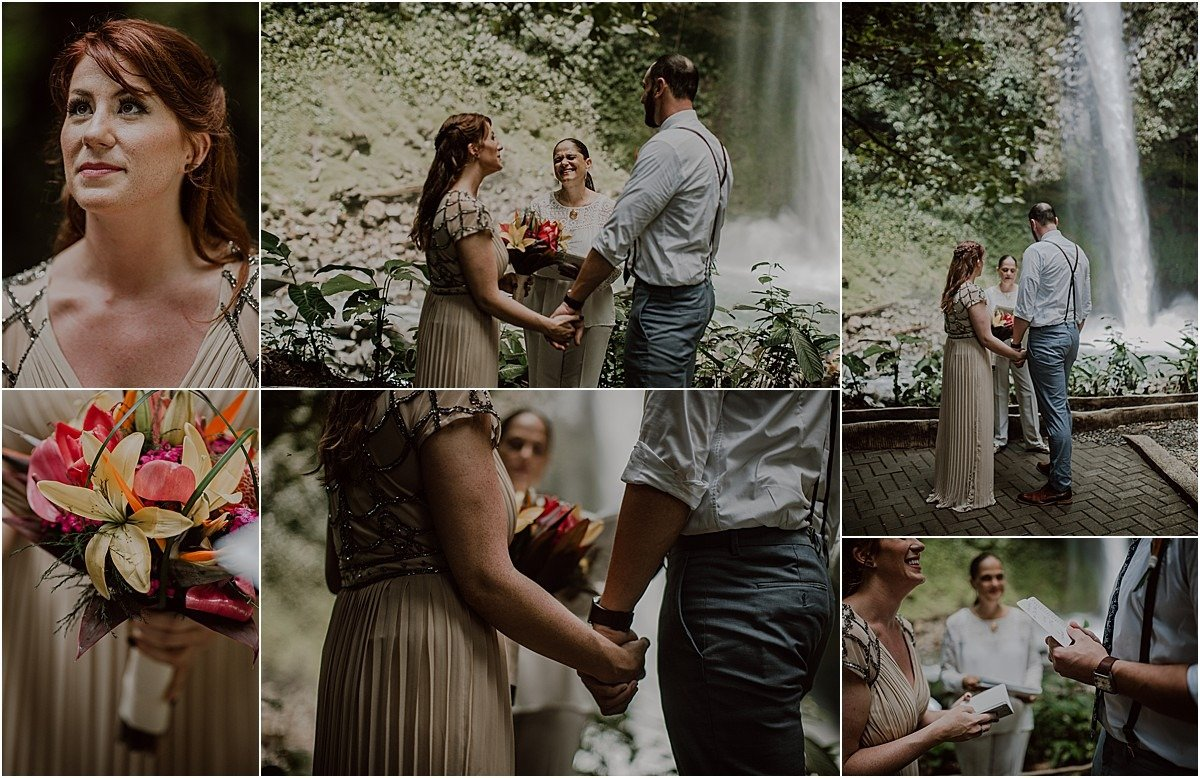 elopement ceremony next to a waterfall