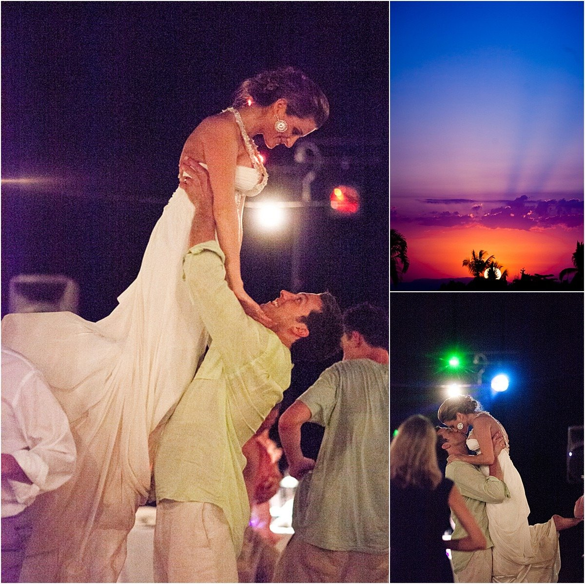 first dance groom lifting his bride at sunset