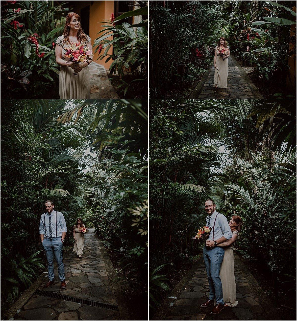 first looksin the garden waterfall elopement