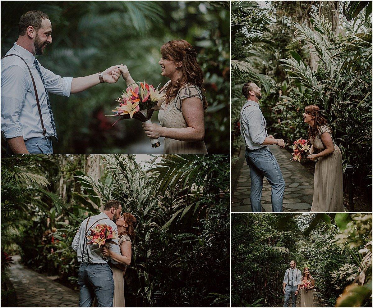 garden elopement first looks laughing