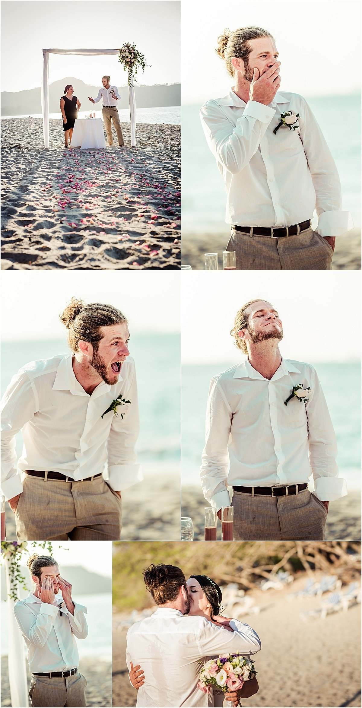 groom seeing his bride for the first time and crying