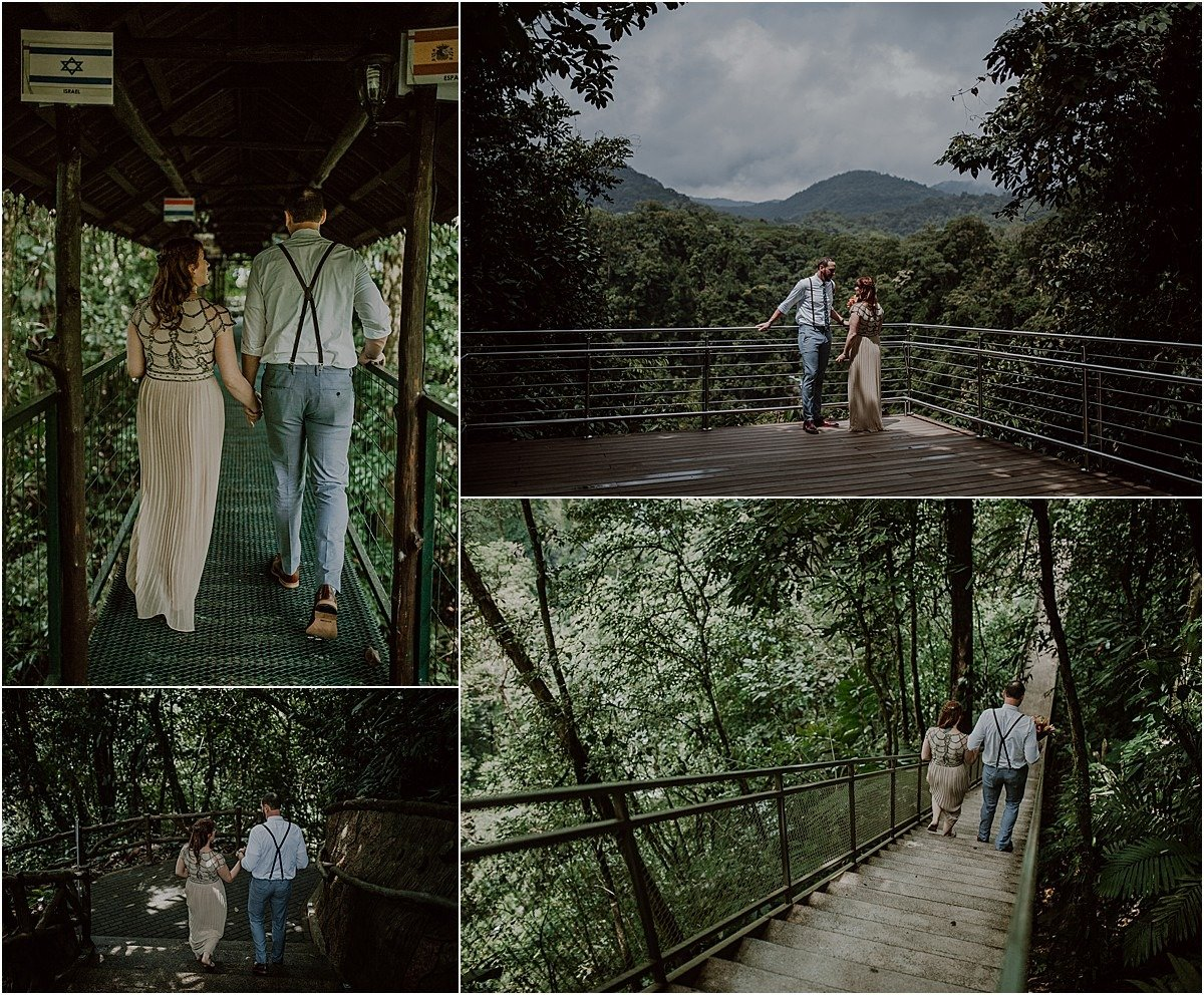 hanging bridge with views of the arenal volcano