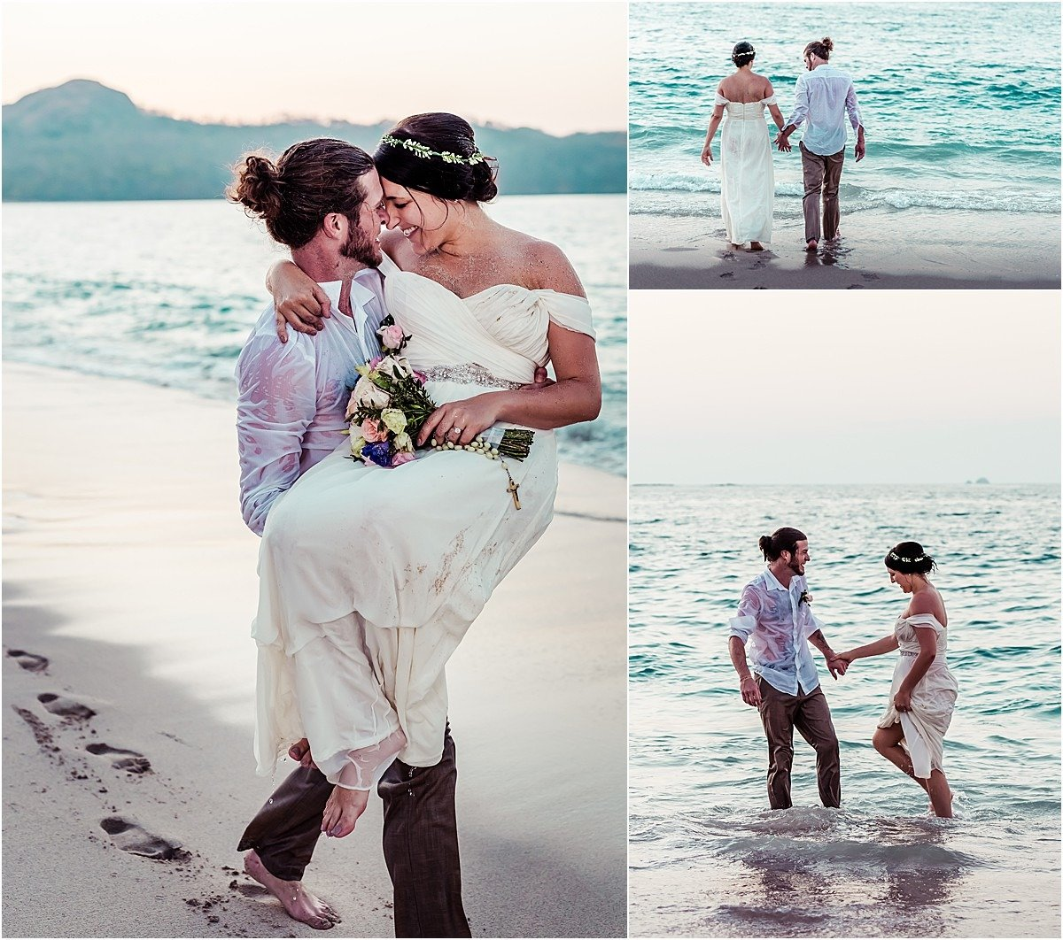 playa conchal trash the dress shoot in the ocean