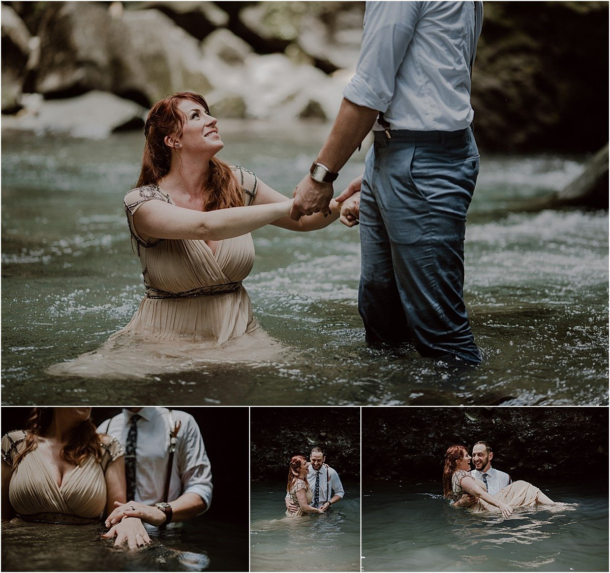 submergeing in the waterfall trash the dress idea