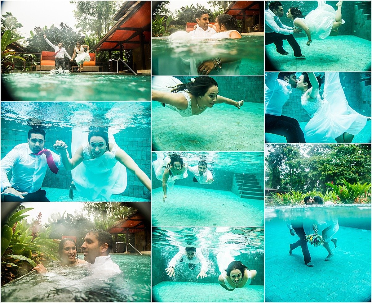 trash the dress idea jumping into the Arenal Nayara pool