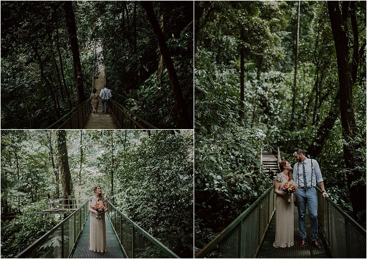 walking through the jungle to elopement location