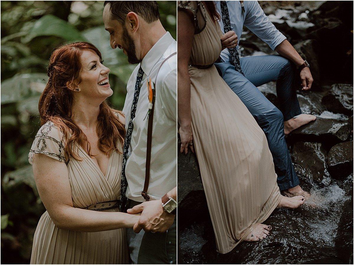 waterfall elopement in costa rica adventure wedding