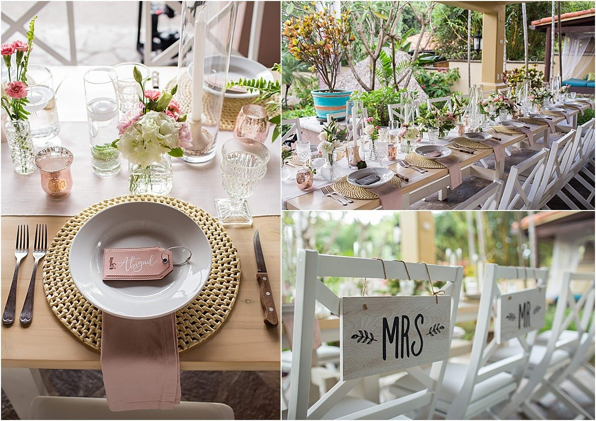 wedding table decor pale pink and green