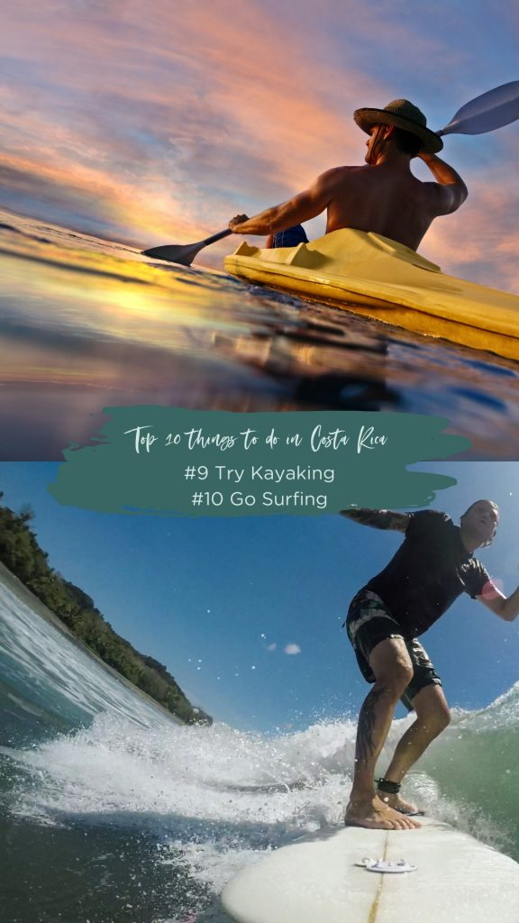 surfing and kayaking in costa rica