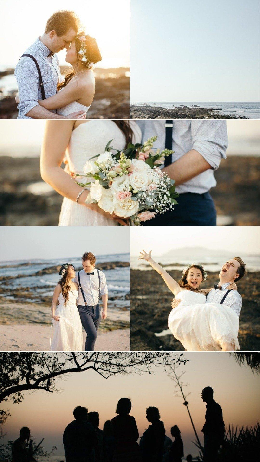boho beach wedding couple on playa tamarindo