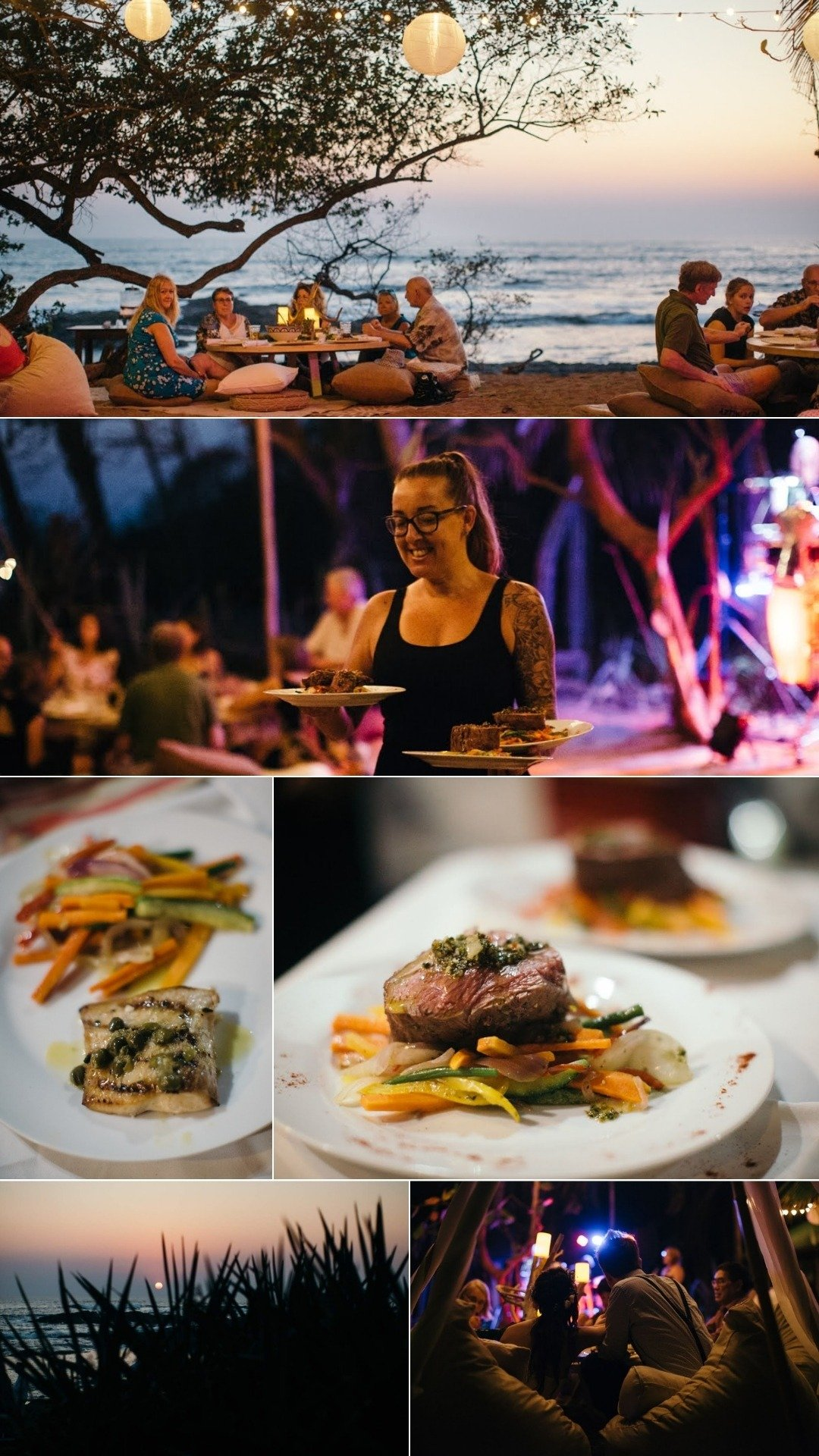 sunset beachfront dinner restaurant in tamarindo