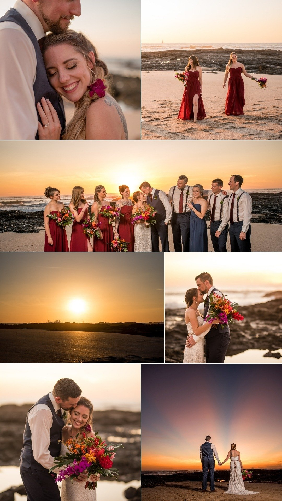 sunset on the wedding party red bridesmaids dresses