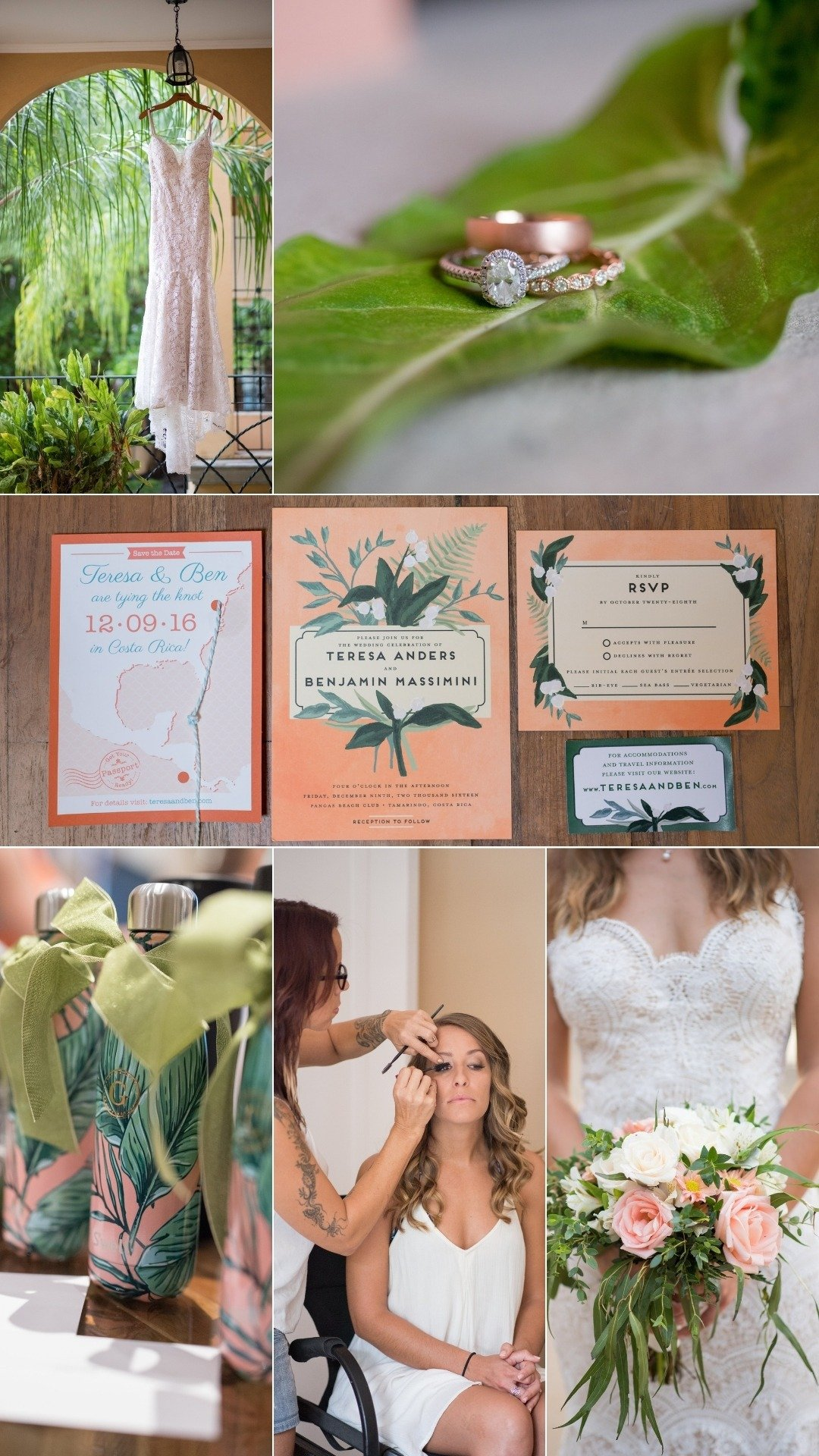 morning of the wedding with tropical vibes