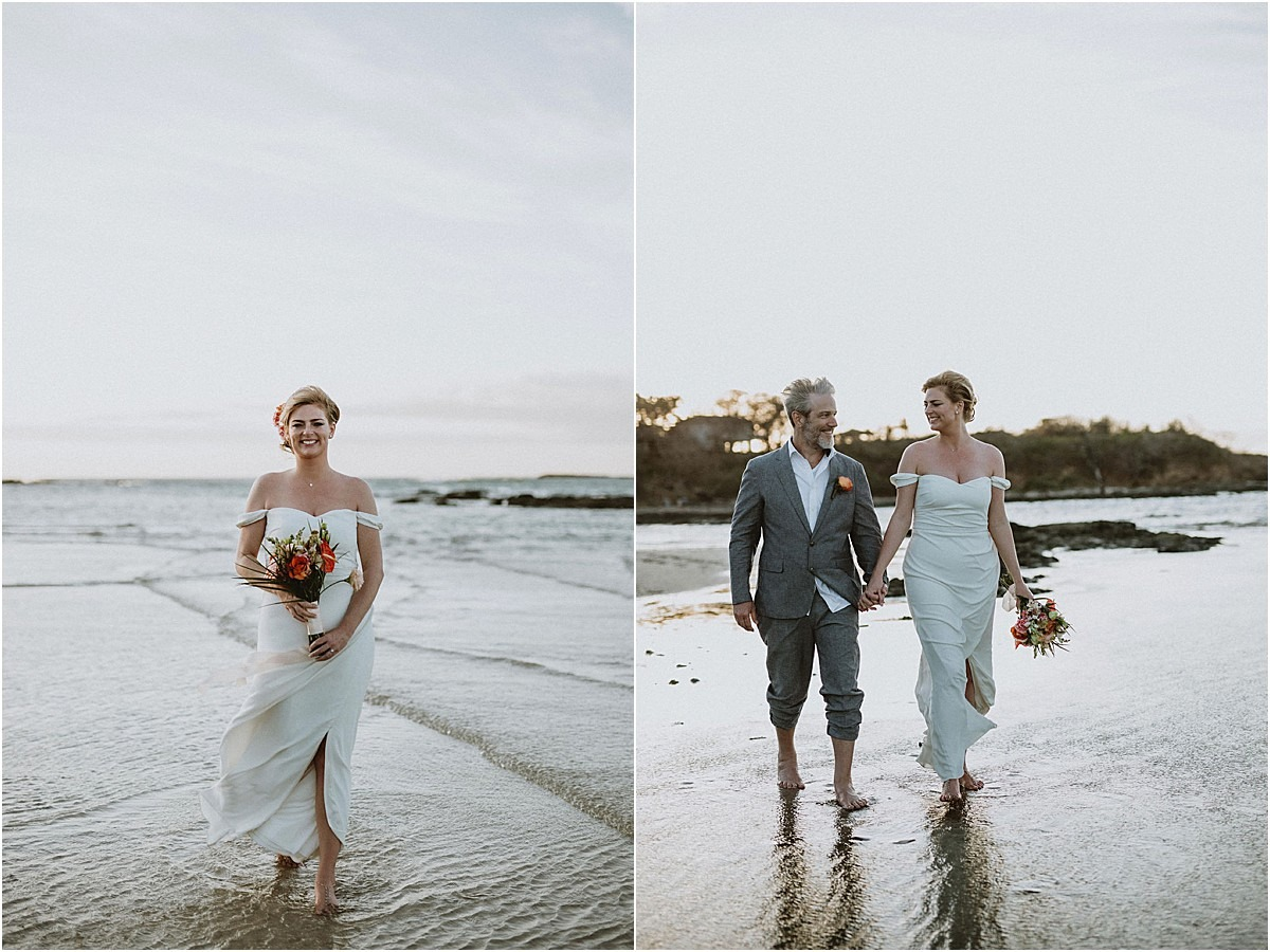 bride and groom on the beach shoot