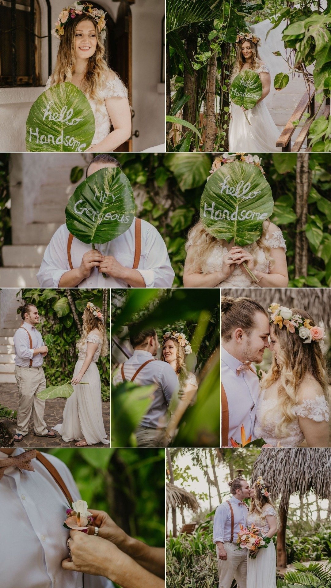 first looks in the garden with palm leaves
