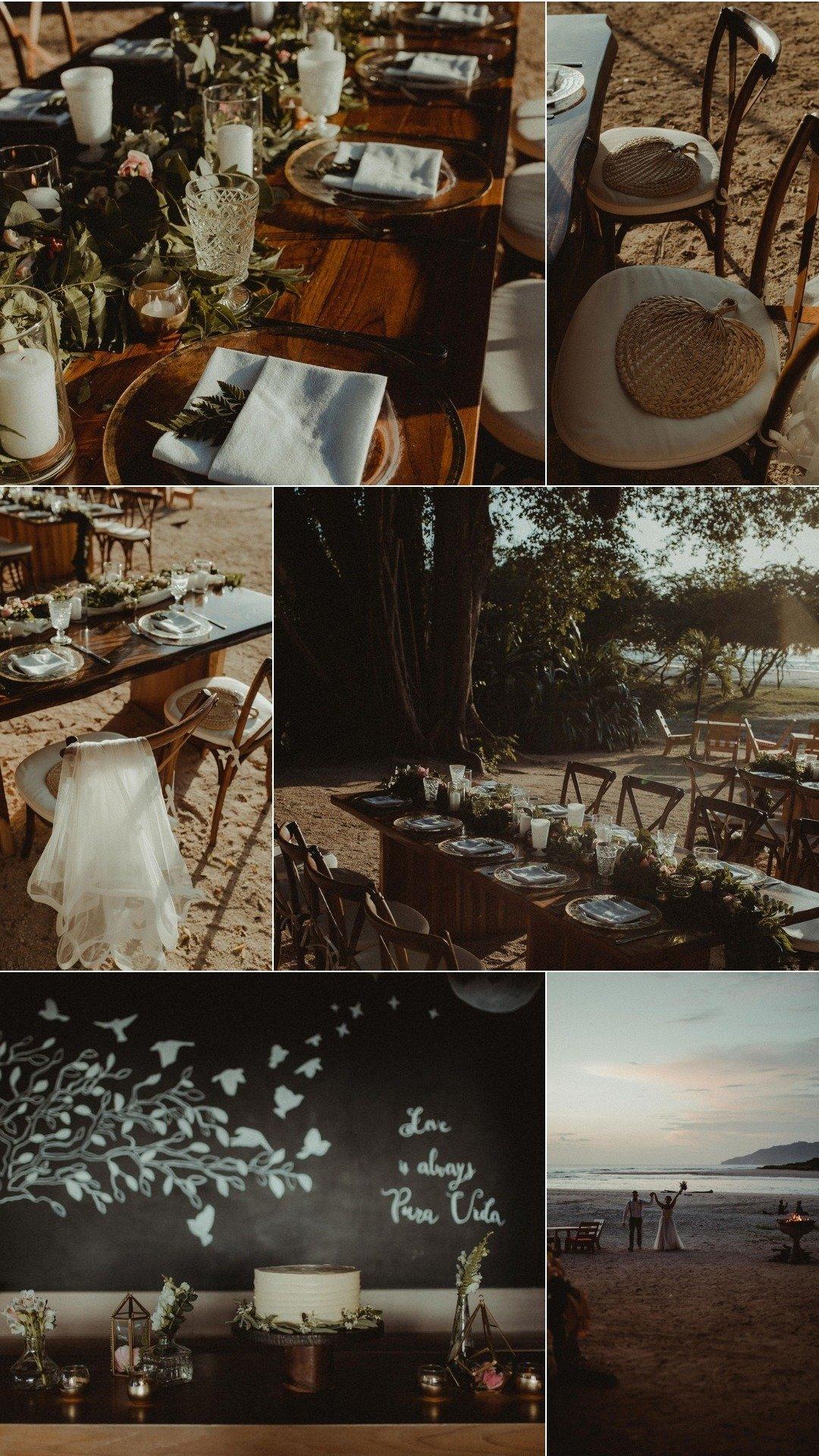 boho beach club wedding dinner
