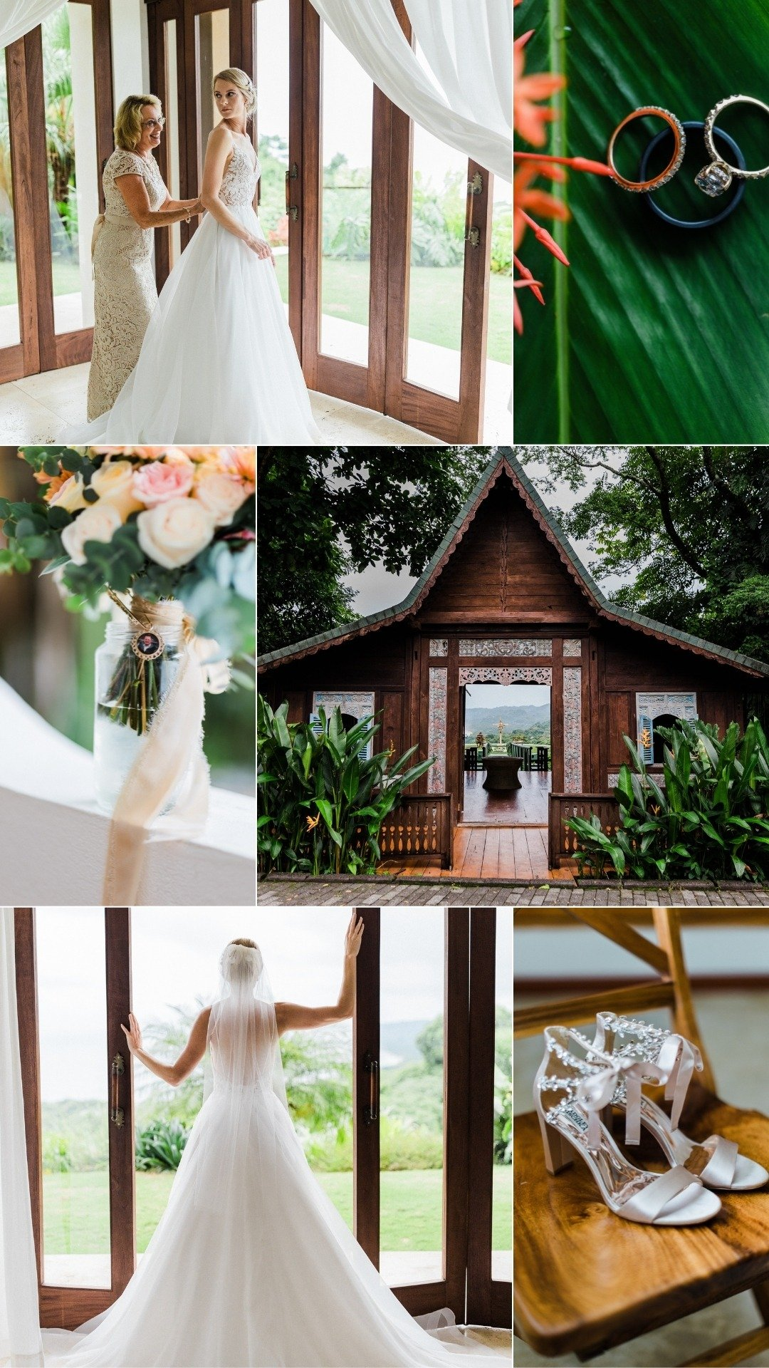 tropical wedding morning in playa danta