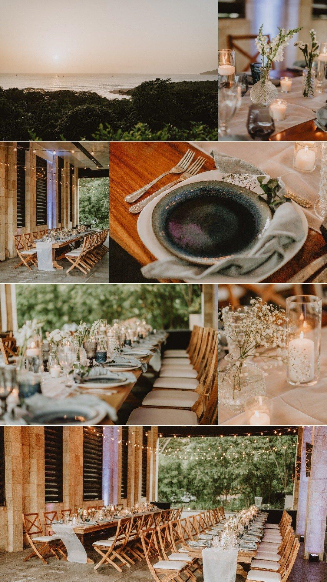 villa reception and moody blue tablescape